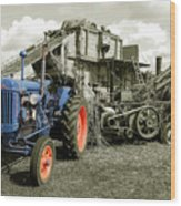 Fordson And The Threshing Machine Wood Print