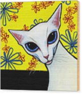Foreign White Cat Wood Print by Leanne Wilkes