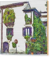 Foreshortening Of House Covered With Climbing Plants Wood Print