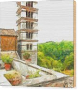 Foreshortening With Bell Tower And Wood Wood Print