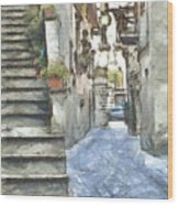 Foreshortening With Stairs Wood Print
