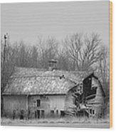 Forest Avenue Barn Bw Wood Print