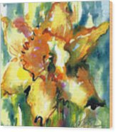 Forest Daffodil In Rain Wood Print