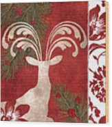 Forest Holiday Christmas Deer Wood Print