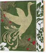Forest Holiday Christmas Goose Wood Print