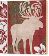 Forest Holiday Christmas Moose Wood Print