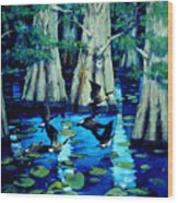 Forest In Water Wood Print
