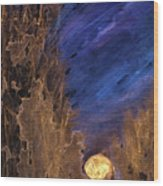 Forest Moonrise Glow Wood Print