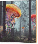 Forest Of Jellyfish Worlds Wood Print