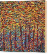 Forest On Fire Wood Print