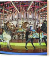 Forest Park Carousel Wood Print