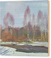 Forest River In Winter Wood Print