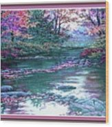 Forest River Scene. L B With Decorative Ornate Printed Frame. Wood Print