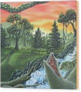 Forest Sunset Cascade Wood Print