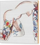 Forever Amber - Tattoed Nude Wood Print
