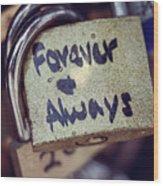 Forever And Always Paris Love Lock Wood Print