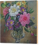 Forget Me Nots And Primulas In Glass Vase Wood Print