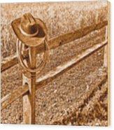 Forgetting Texas - Sepia Wood Print