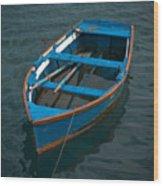 Forgotten Little Blue Boat Wood Print