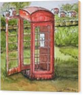 Forgotten Phone Booth Wood Print