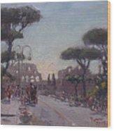 Fori Romani - Street To Colosseo Wood Print