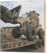 Forklift Is Unloaded Off Of A Logistics Wood Print by Stocktrek Images