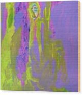 Forlorn In Purple And Yellow Wood Print