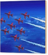 Formation Flying Britains Red Arrows Wood Print