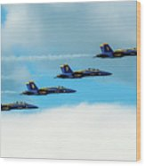 Formation Of Blue Angels Wood Print