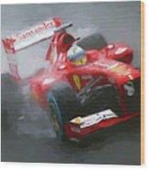 Formula One Burning The Track Wood Print