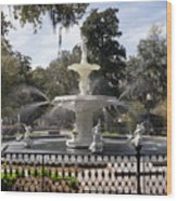 Forsyth Fountain Park Wood Print