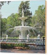 Forsyth Park Fountain Square Wood Print