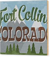 Fort Collins Colorado Snowy Mountains	 Wood Print