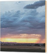 Fort Collins Colorado Sunset Lightning Storm Wood Print
