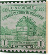 Fort Dearborn Postage Stamp Wood Print