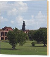 Fort Jefferson Parade Grounds And Harbor Light Wood Print