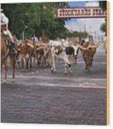 Fort Worth Cattle Drive Wood Print