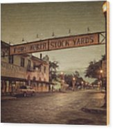 Fort Worth Impressions Stockyards Wood Print
