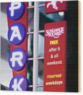Fort Worth Parking Sign Digital Oil Paint Wood Print