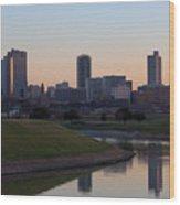 Fort Worth Skyline At Sunset Wood Print