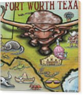 Fort Worth Texas Cartoon Map Wood Print