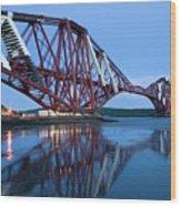 Forth Railway Bridge In Edinburg Scotland  Wood Print