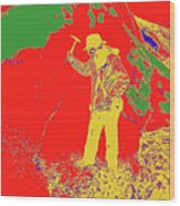 Fossil Hunter Red Yellow Green Wood Print