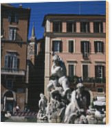 Fountain Depicting Neptune The Piazza Navona The Spire Of The Church Of Santa Maria Della Pace Rome Wood Print
