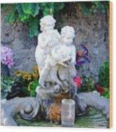 Fountain In Capri Italy Wood Print