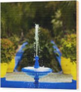 Fountain In Jardin Majorelle Morocco Wood Print