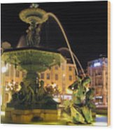 Fountain In Rossio Square Wood Print