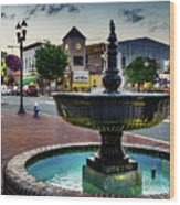 Fountain In Small Town Wood Print