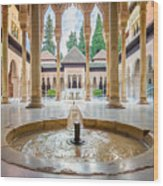 Fountain Of Lions At The Alhambra Wood Print
