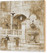 Fountain Of Rest Wood Print